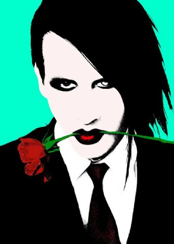MARILYN MANSON - Blue art rose canvas print - self adhesive poster - photo print